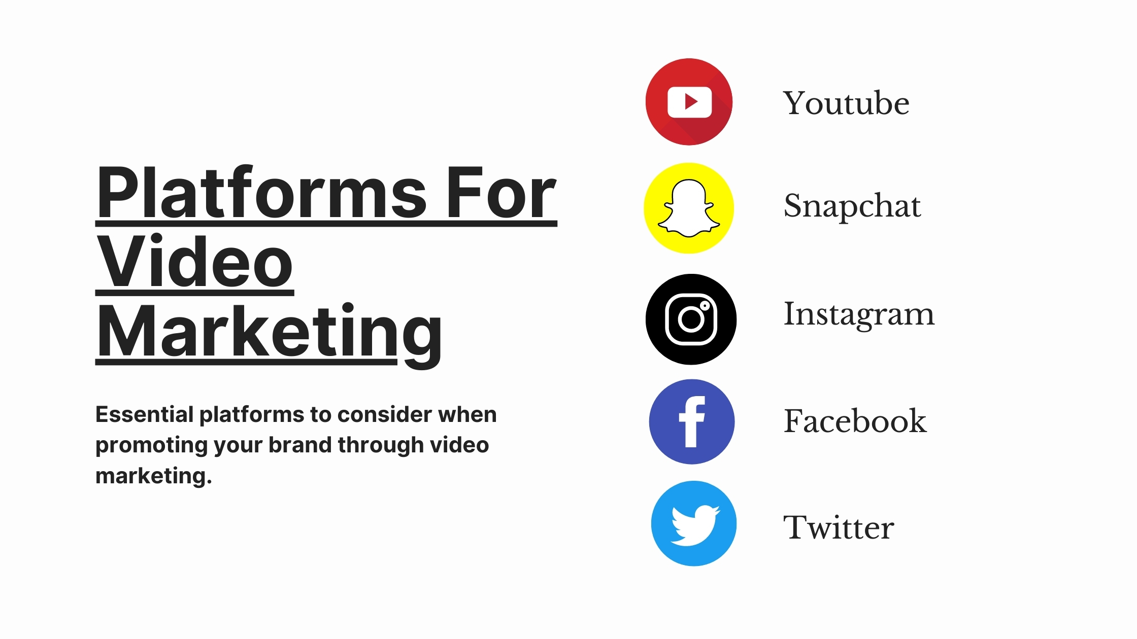 video marketing platforms to consider when promoting your brand through video marketing or digital marketing
